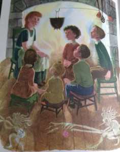 "From The Golden Book of Poetry: illustration by Gertrude Elliott for the poem ""Little Orphant Annie"""