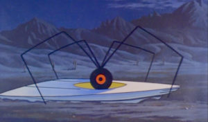 A spider emerges from a UFO: two phobias for the price of one, perhaps?